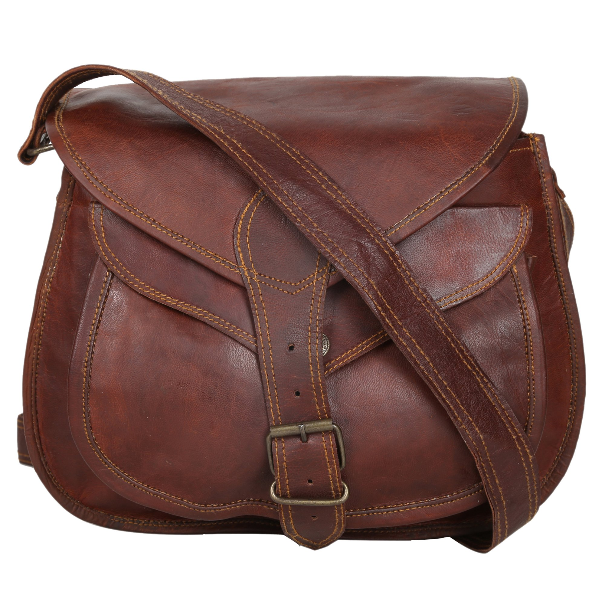 ''Handcraft''''Florence'' Womens Vintage Style Genuine Leather Cross Body Adjustable Shoulder Bag Brown 11''