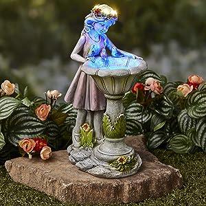 The Lakeside Collection Solar Lighted Girl by Bird Bath Sculpture - Outdoor Garden Accent
