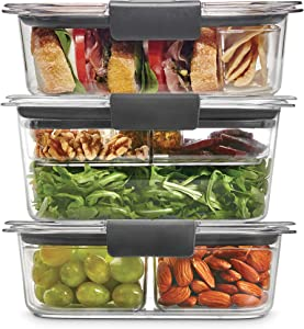 Rubbermaid Leak-Proof Brilliance Food Storage 12-Piece Plastic Containers with Lids | Bento Box Style Sandwich and Salad Lunch Kit, Clear