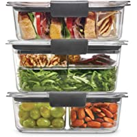Rubbermaid Leak-Proof Brilliance Food Storage 12-Piece Plastic Containers with Lids | Bento Box Style Sandwich and Salad…