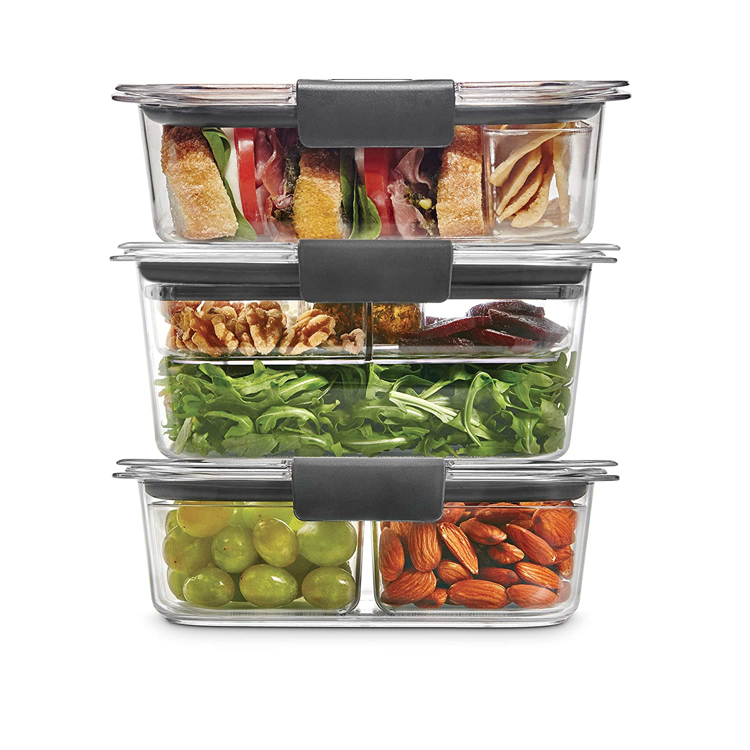 Rubbermaid 2108371 Leak-Proof Brilliance Food Storage 12-Piece Plastic Containers with Lids | Bento Box Style Sandwich and Salad Lunch Kit, Clear