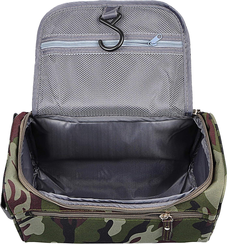 Vercord Mens Toiletry Bag Wash Travel Small Shaving Dop Kit Shower Bathroom Ditty Hygiene Bag Camo Dark Green