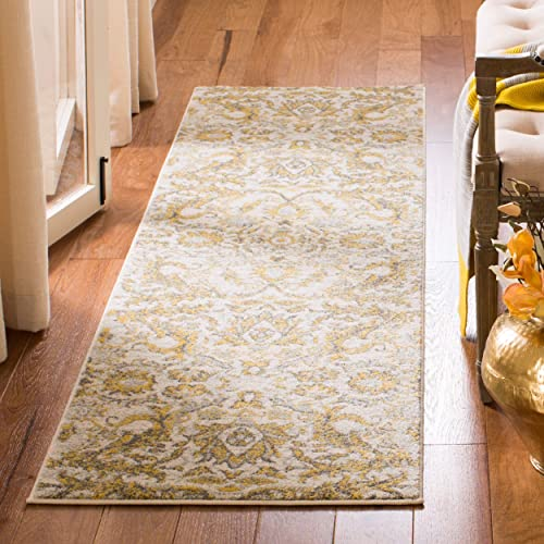 Safavieh Evoke Collection EVK238S Contemporary Ivory and Gold Runner 2 2 x 7