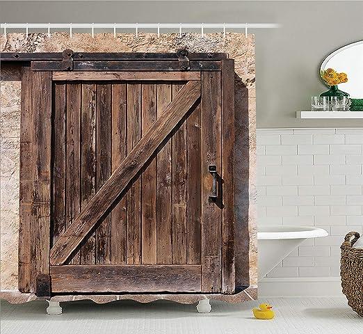 Nyngei Dede rústica Puerta corredera Envejecida con Textura rústica de de con Decorativo Rural arquitectónico auténtico Vintage clásico con Hoooks Marrón: Amazon.es: Hogar
