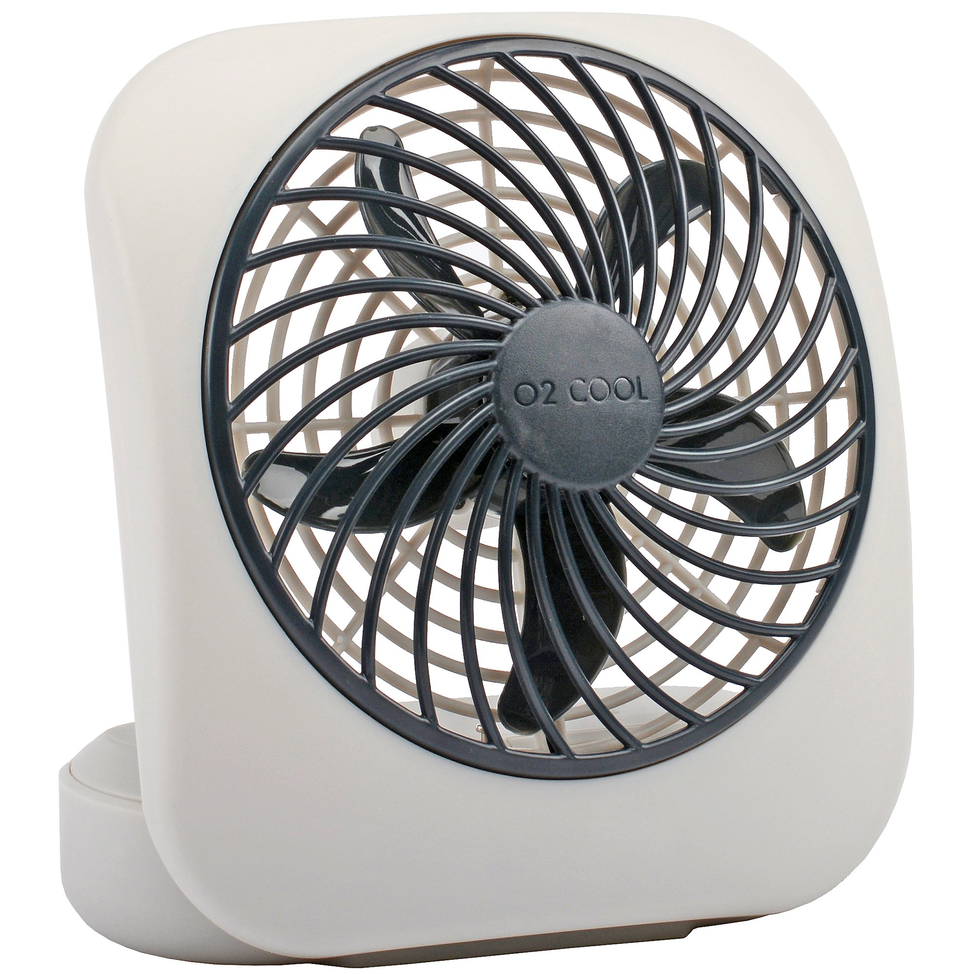 O2COOL 5-Inch Portable Fan, Desktop Fan, Battery Operated Fan, 2-Speed Fan, Tilt Fan, Compact Folding Fan, D-Battery Fan, Tabletop Fan, Household Fan, Gray