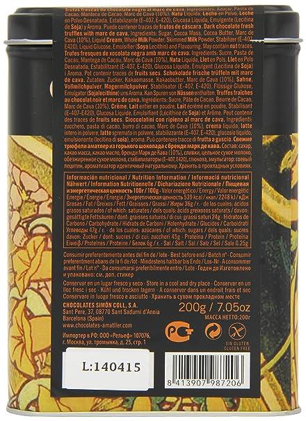 Chocolate Amatller Flors - Bombones de chocolate 50% cacao al Marc de Cava en caja metal - 200 gr.: Amazon.es: Alimentación y bebidas