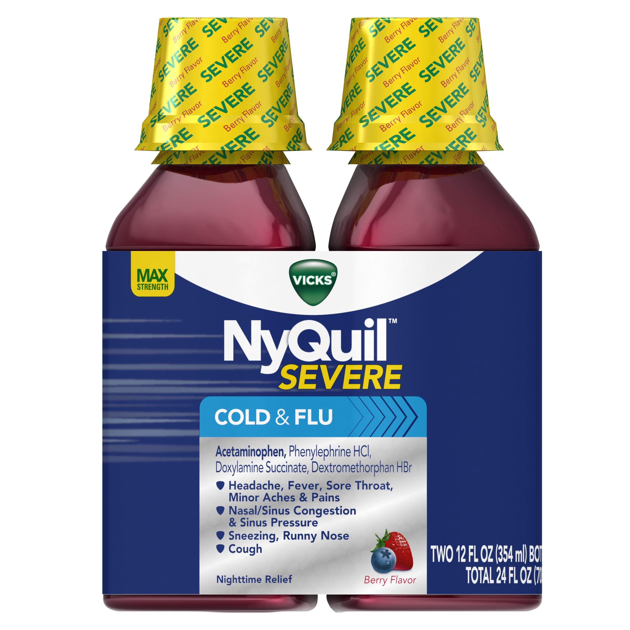 Vicks NyQuil SEVERE Cough Cold and Flu Nighttime Relief Berry Flavor Liquid Twin Pack, 2x12
