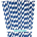 Striped Paper Straws - Navy Blue White - 7.75 Inches - 100 Pack