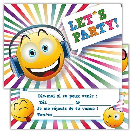 Lot De 12 Cartes D Invitation Pour Anniversaire Partie Fete Cartons D Invitation En Francais Emoji Let S Party