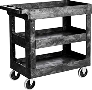 AmazonBasics 3-Shelf Multipurpose Plastic Tub Utility Cart with 500-Pound Capacity - Black
