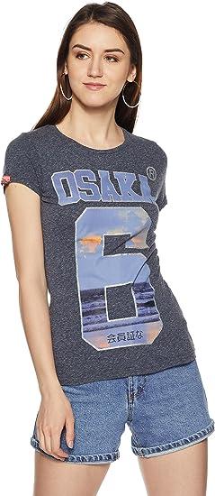 Superdry Osaka Brand Tee T Shirt, Bleu, XS Femme: