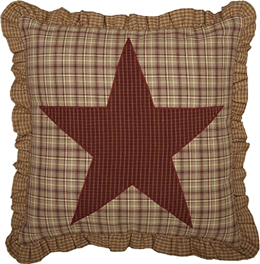 """NAVY STAR FABRIC  ACCENT PILLOW W// FILL 16X16/"""" NAVY KHAKI CHECKED"""