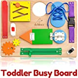 Montessori Busy Board for Toddlers - Wooden Sensory Toys - Toddler Activities for Fine Motor Skills Travel Toy - Educational