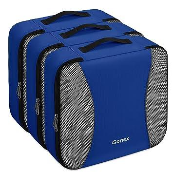 Gonex - 3 packs Organizador para maletas/Viaje Bolsas de Embalaje/Almacenaje Ultraligeros Multifuncionales Rip-Stop de Nylon Azul: Amazon.es: Equipaje