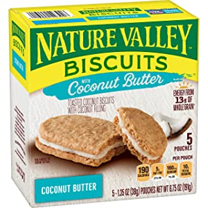 Nature Valley Biscuits, Coconut Butter, Breakfast Biscuits with Coconut Filling, 5 Pouches, 1.35 oz