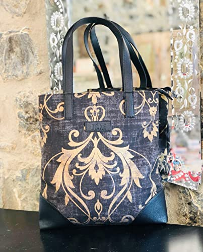 Gift For Her African Fabric And Faux Leather Tote Bag Women Tote Bag Large Tote Bag African Print Tote Bag Tote Bag With Pockets