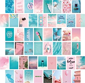 LOVEDMORE Photo Collage Kit for Wall Aesthetic 50 Pictures Lite Blue and Pink   Teal Wall Decor for Bedroom Aesthetic   Cute Living Room Decor for Girls   Chic Pink and Blue Photo Gifts for Her Dorm Decor