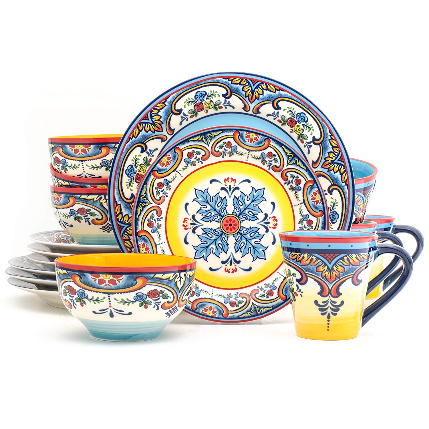 Euro Ceramica Zanzibar Collection Vibrant 16 Piece Oven Safe Stoneware Dinnerware Set, Service For 4, Spanish Floral Design, Multicolor