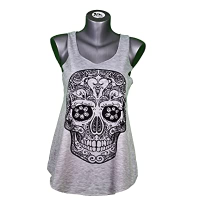 GL BOUTIK. Debardeur Femme Imprime Tete de Mort Mexicaine - CUBANISTO - Biker - Tattoo - Tatouage