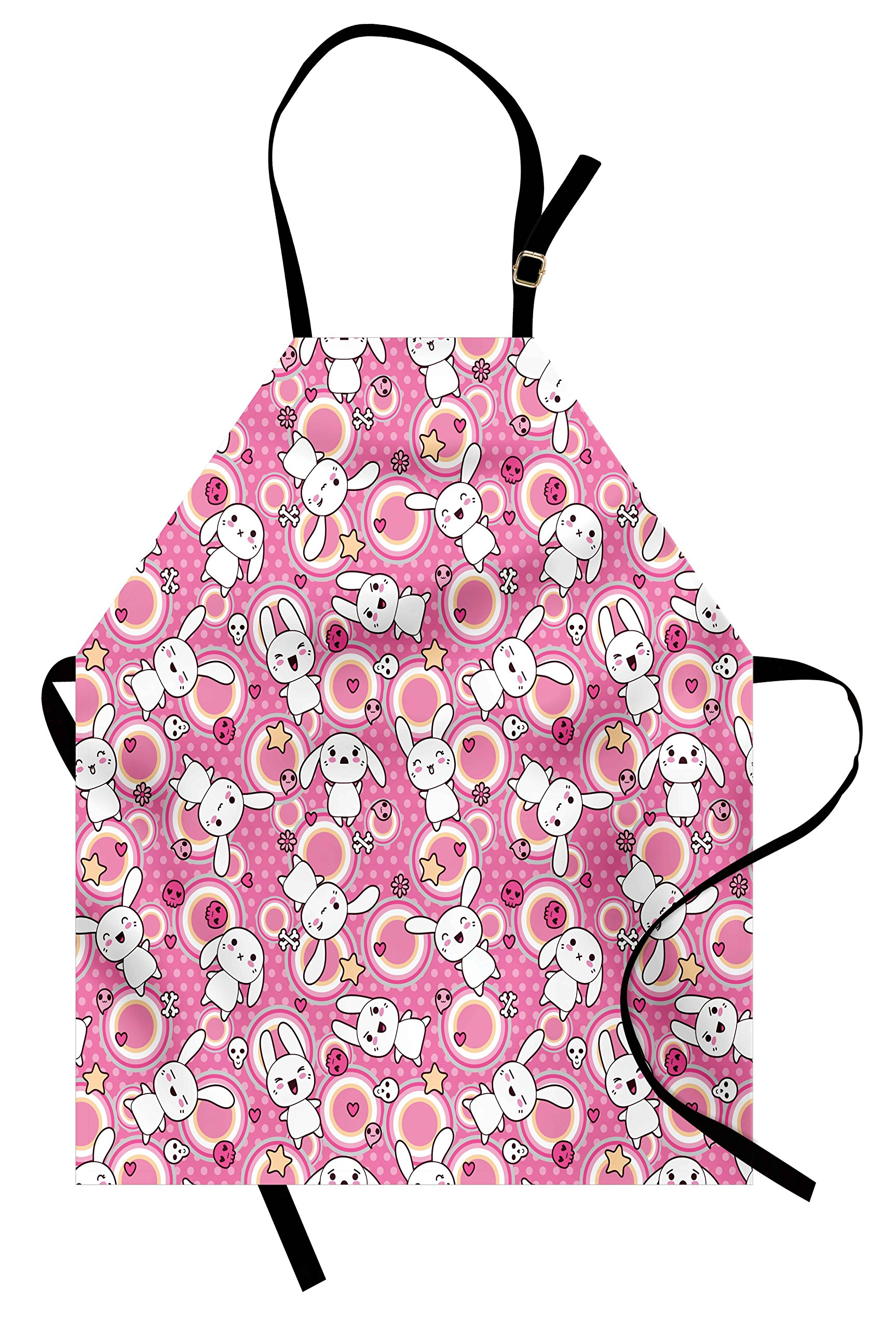 Ambesonne Anime Apron, Funny Kawaii Illustration with Rabbits Funky Cute Animals Bunnies Kids Humor Print, Unisex Kitchen Bib Apron with Adjustable Neck for Cooking Baking Gardening, White Pink