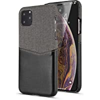 Deal Noon iPhone11 Leather Card Holder (Single) Slim Card Case Compatible for Apple iPhone 11, Leather Protection Cover with Multi Purpose Card Holder Slot Design (iPhone 11 Pro, Black)