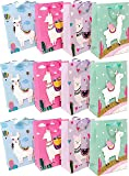 Llama Party Favor Bags Fiesta Cactus Cinco de Mayo Party Supplies Mexico Gift Goodie Treat Bag for Kids Llama Themed Birthday Baby Shower Party (12 PCS)