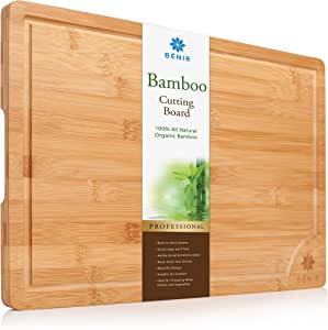 XL BAMBOO CUTTING BOARD SERVING TRAY - Longest Lasting Large Organic Antibacterial Wooden Butcher Block with Drip Grooves (18x12x0.8â)