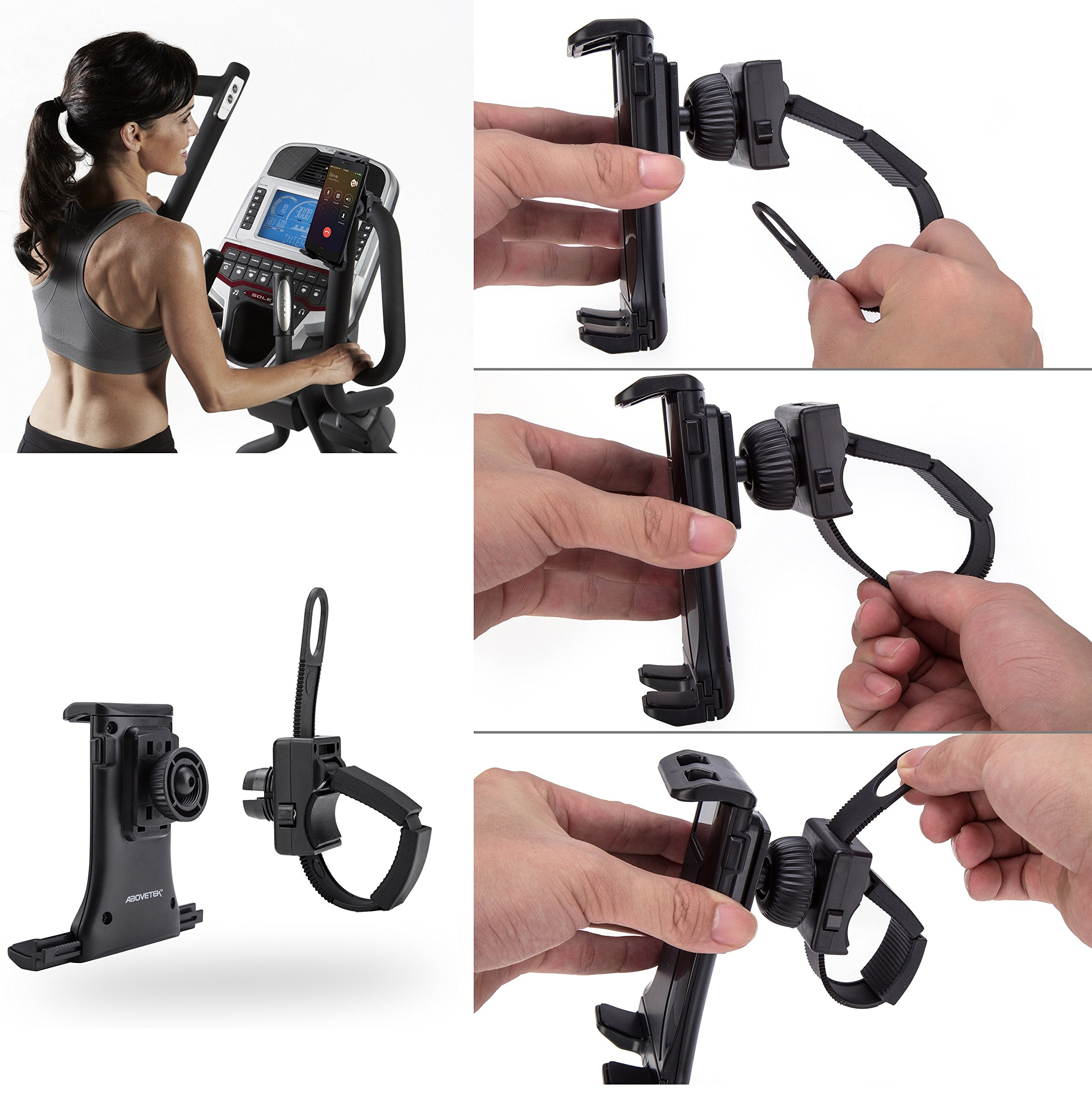 AboveTEK All-In-One Cycling Bike iPad/iPhone Mount, Portable Compact Tablet Holder for Indoor Gym Handlebar on Exercise Bikes & Treadmills, Adjustable 360° Swivel Stand For 3.5-12'' Tablets/Cell Phones by AboveTEK (Image #4)