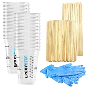 Disposable Measuring Cups for Mixing Epoxy Resin - Measurements in mL and Oz - Pack of 50 Clear 10 Oz Cups - Bonus Pack with 25 Applicator Sticks, 25 Mixing Sticks and 2 Pairs of Nitrile Gloves