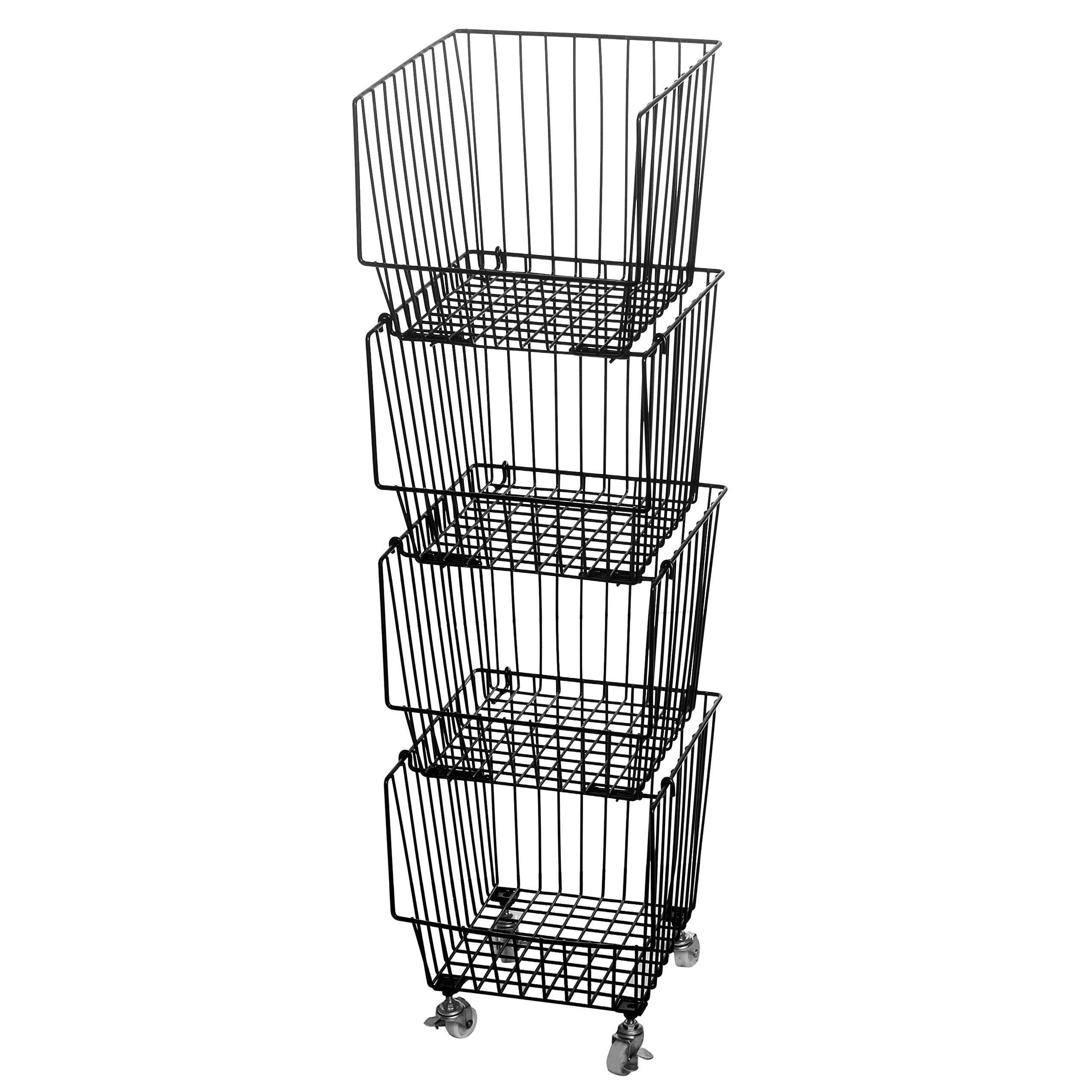 Set of 4 Stackable Rolling Black Metal Wire Produce Storage Rack / Kitchen Pantry Organizer Bin w/ Wheels