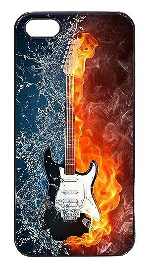 BLACKASE Carcasa de Protección para iPhone 5/5S – Guitarra eléctrica en Fuego y Agua