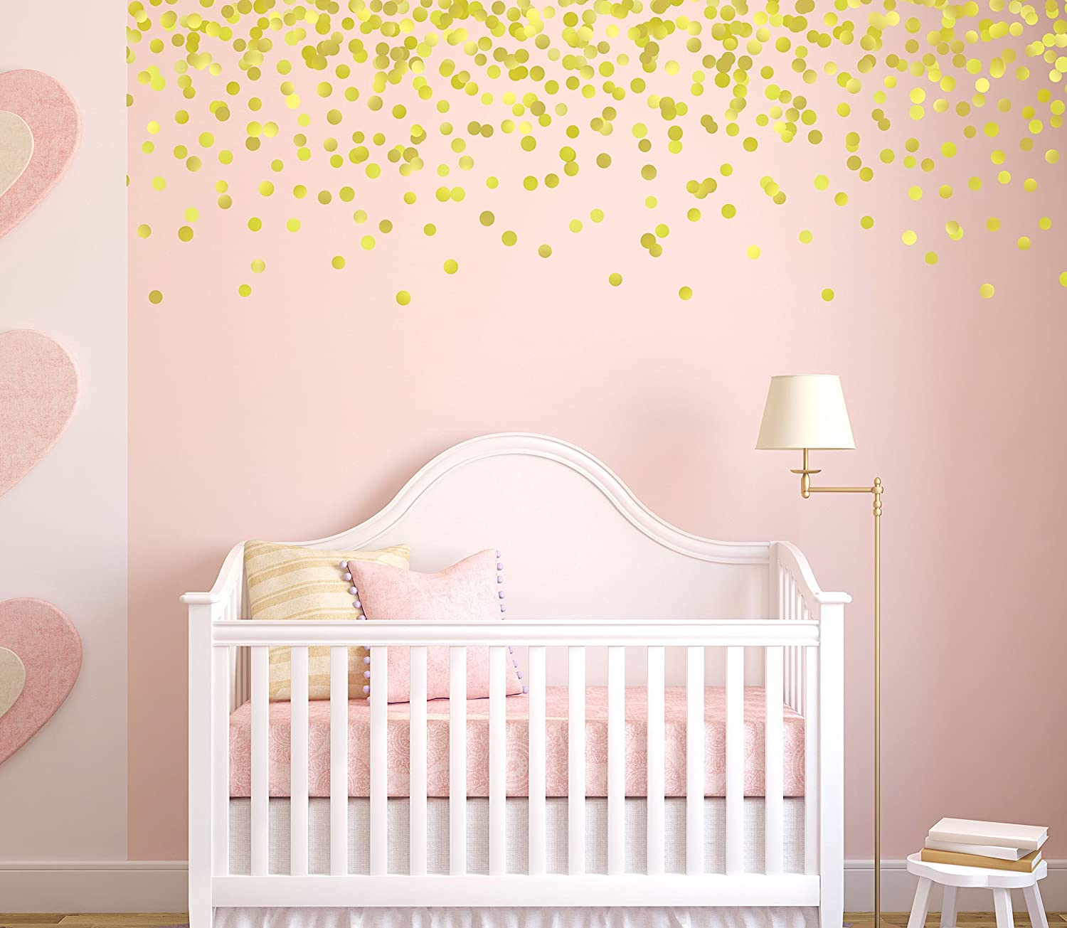 Amazoncom Gold Polka Dot Wall Decals, Pink And Gold Nursery,