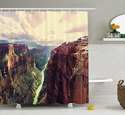 Ambesonne House Decor Shower Curtain View Of The Canyon With Mystical Narrow Long River Line