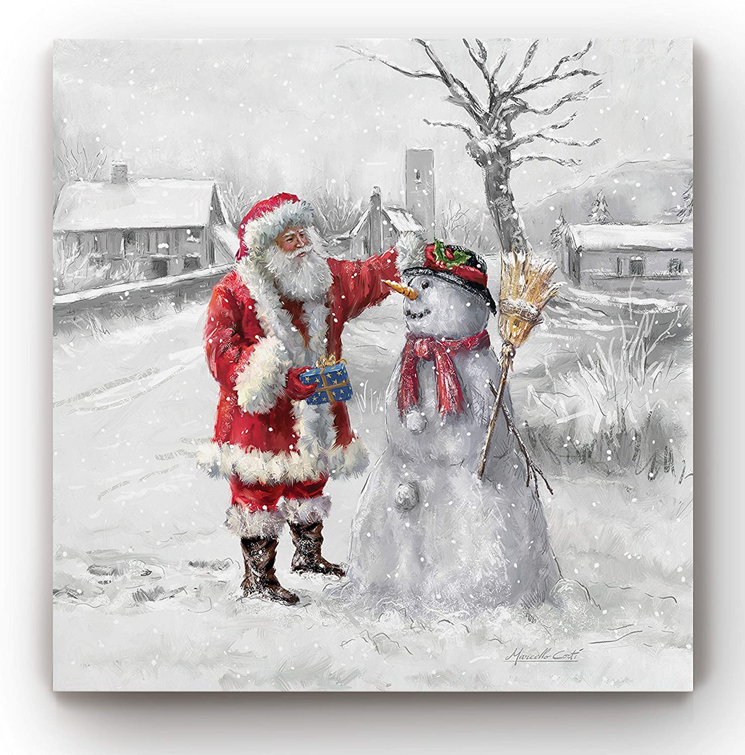 Renditions Gallery Gallery Wrapped Canvas Christmas Wall Art, 24x24, Joyful Santa and Snowman