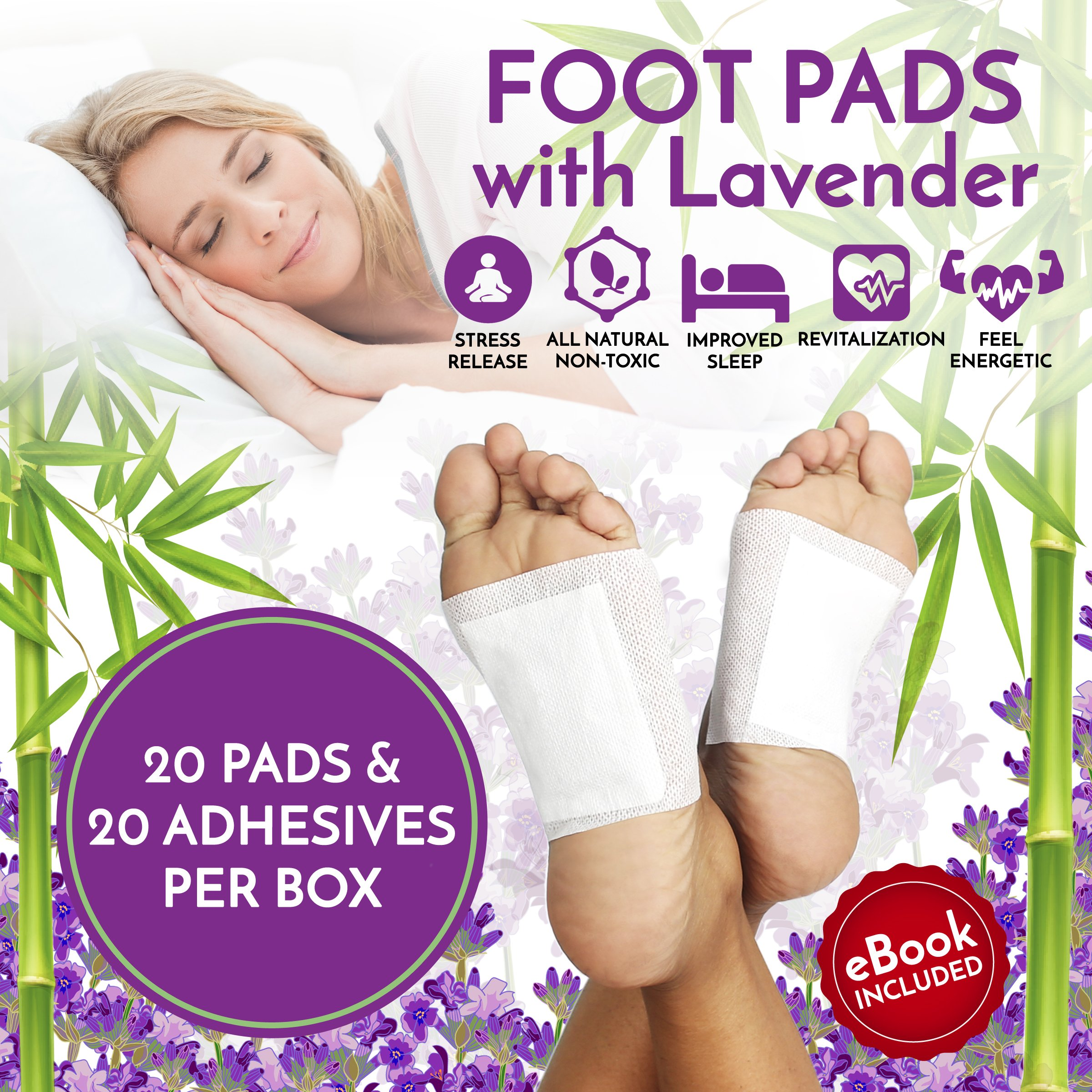 Foot Pads Patches For Pain Relief | Adhesive Foot Care Patch To Remove Impurities, Relieve Stress & Improve Sleep | Lavender Infused For a Relaxing & Calming Aroma - 20 Pack (UPGRADED FORMULA) by Paikō