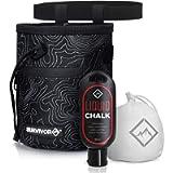 Survivor Chalk Bag + Refillable Chalk Ball + Liquid Chalk - Draw String & 2 Zippered Pockets - Black Chalk Bag for Rock…