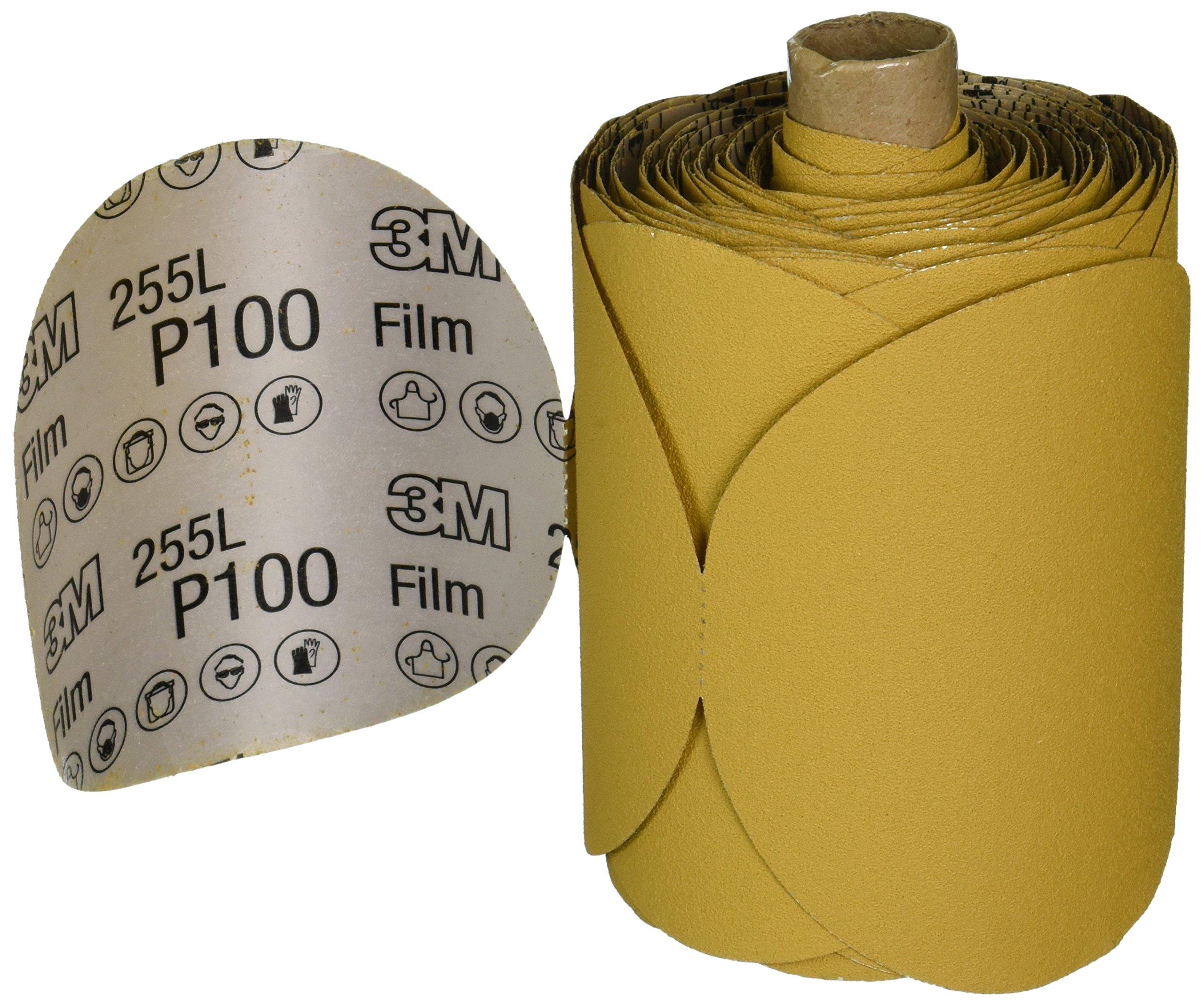 3M Stikit Gold Film Disc Roll 255L, PSA Attachment, Aluminum Oxide, 5'' Diameter, P100 Grit