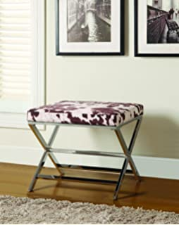 Cow Print Ottoman Brown And Chrome