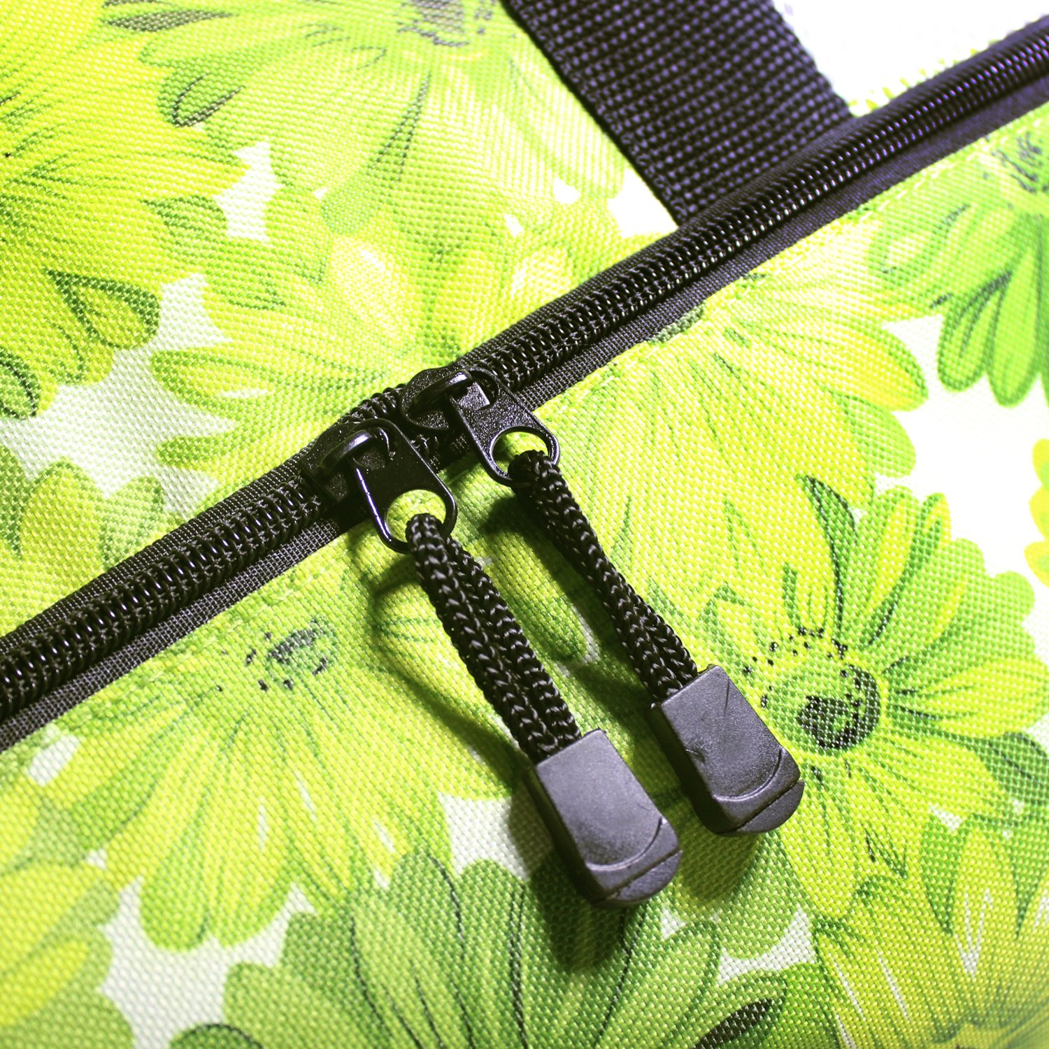 Rotanet Mesh Beach Tote Bag-Zipper Top with Insulated Picnic Cooler Extra Large (Green Flower) by ROTANET (Image #5)