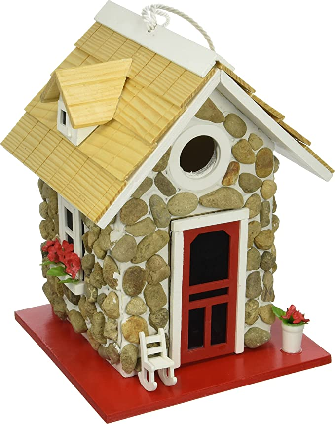 Hanging Birdhouse Wood Bird House 2 x Country Cottages Condo Garden E+F