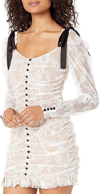 Amazon Com For Love Lemons Women S Beverly Pleated Mini Dress White Lace Medium Clothing