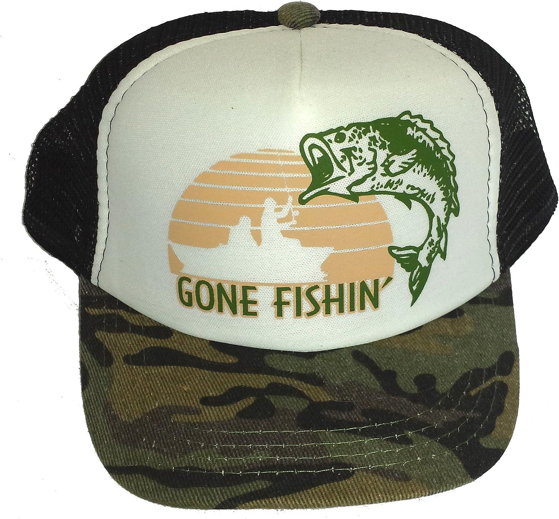 THATSRAD Toddler Kid's Gone Fishin Fishing Mesh Trucker Hat Cap Camouflage Camo: Clothing