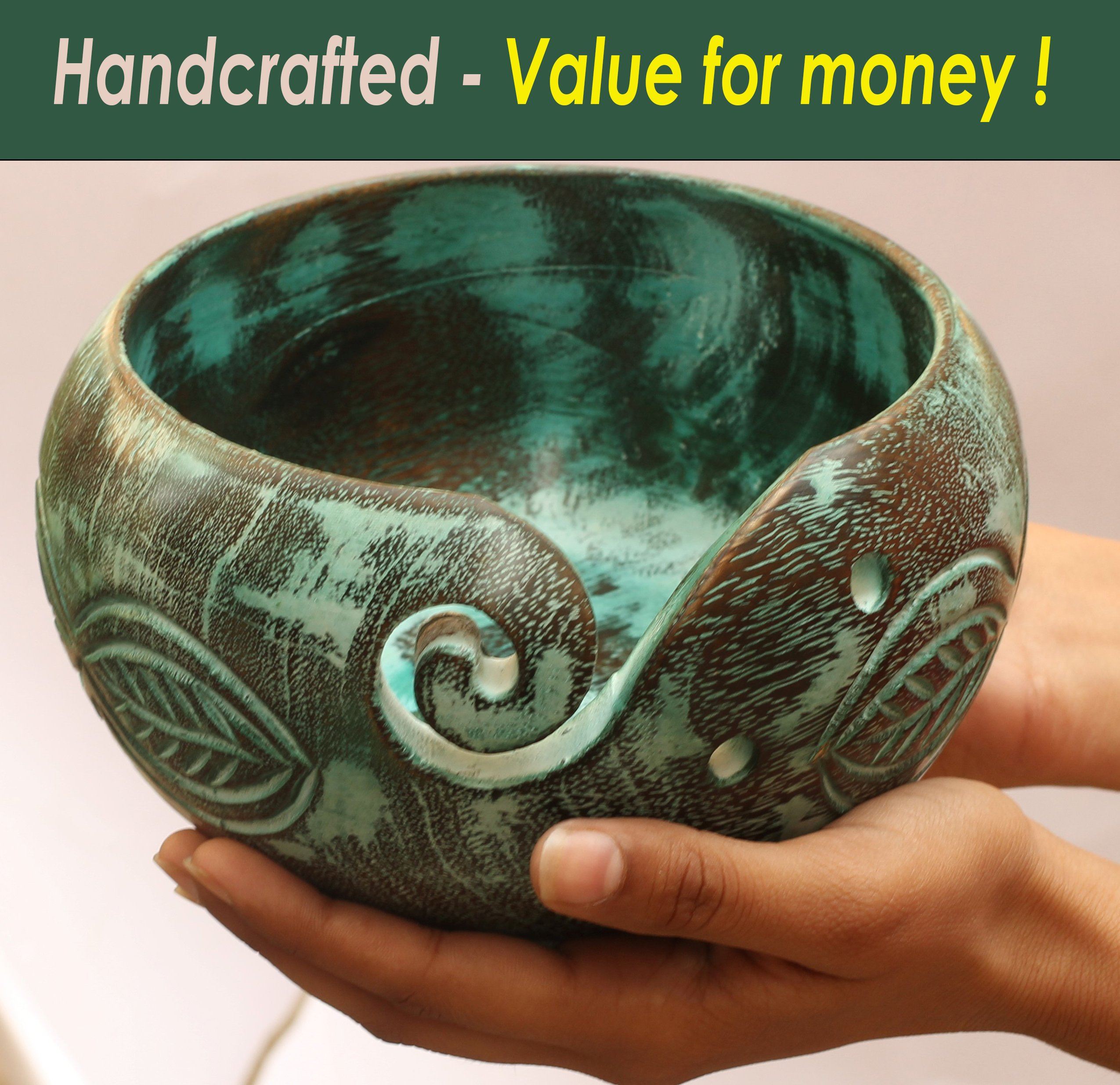 Big Sale Offer - ARB Exports - 7'' Wooden Yarn Bowl Hand Craved Horizontal Leaf - Knitting Bowl with Holes Storage - Crochet Yarn Holder Bowl - Perfect for Men, Women and Seniors