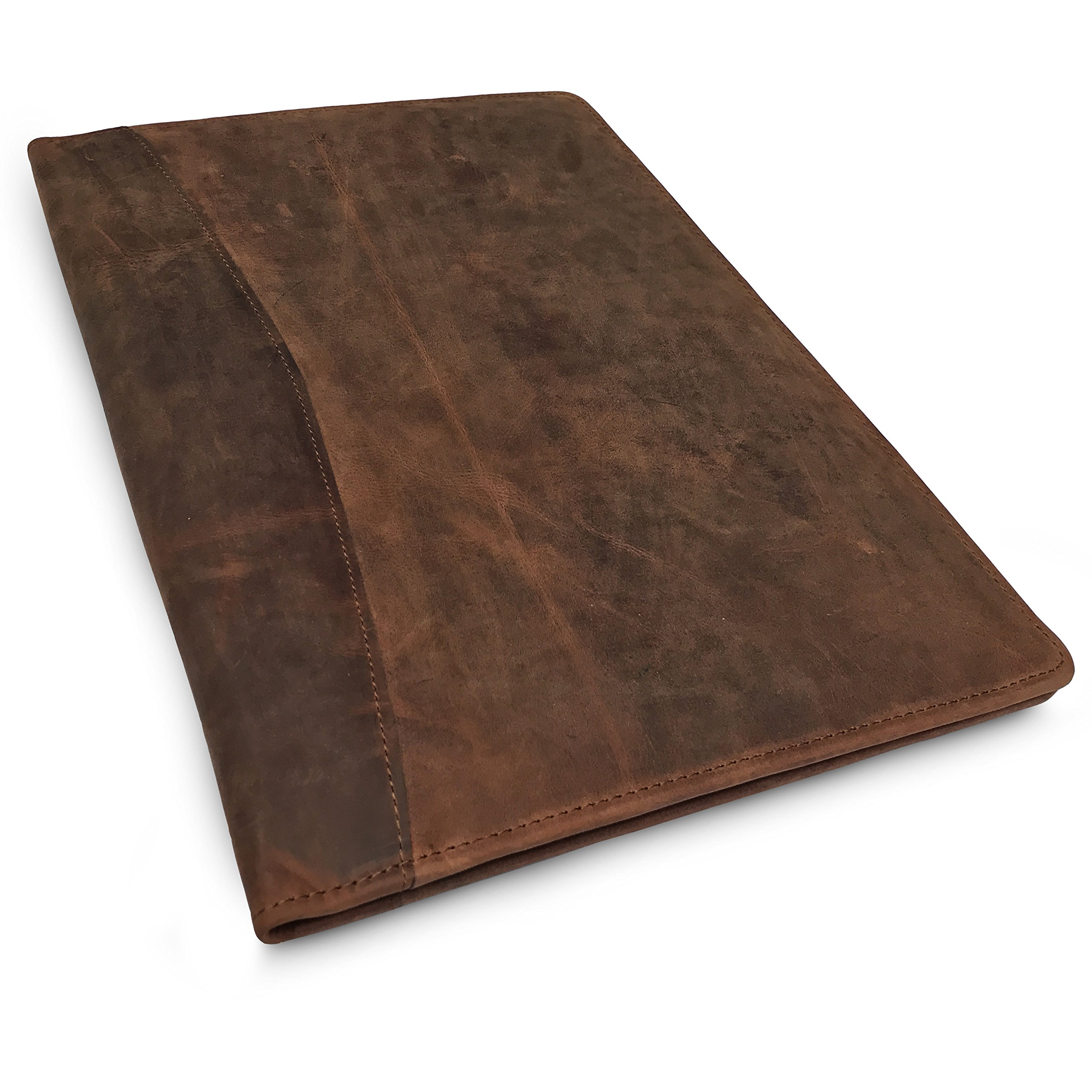 Leather Portfolio Professional Resume Padfolio - Document Folder & Organizer Folio for Letter-Sized/A4 Writing Pad with Business Card Holder, Ideal Gift Portfolios for Men + Women (Russet Brown)