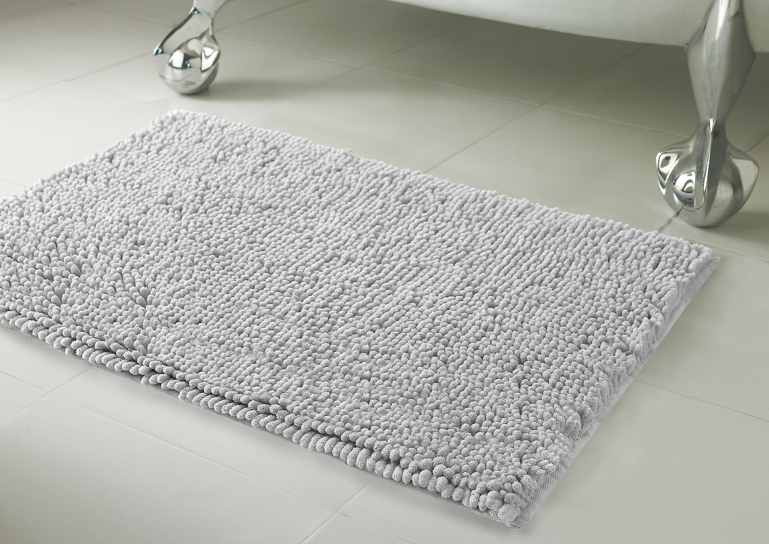 Resort Collection Plush Shag Chenille 2-Piece 17 x 24'' and 21 x 34'' Bath Mat Set, Light Grey