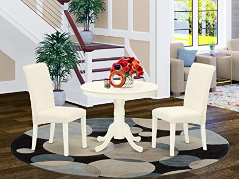 Amazon Com East West Furniture Anba3 Lwh 01 3pc Dinette Set Includes A Small Rounded Kitchen Table And Two Parson Chairs With Cream Fabric Linen White Finish Furniture Decor
