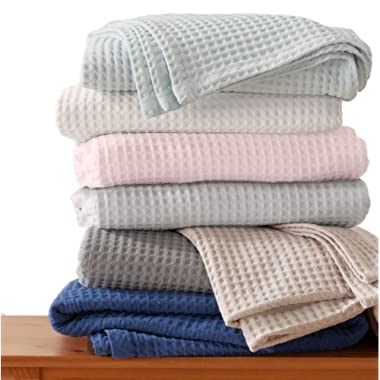 100% Cotton Waffle Weave Premium Blanket. Lightweight and Soft, Perfect for Layering. Mikala Collection (Full/Queen, Dark Grey)