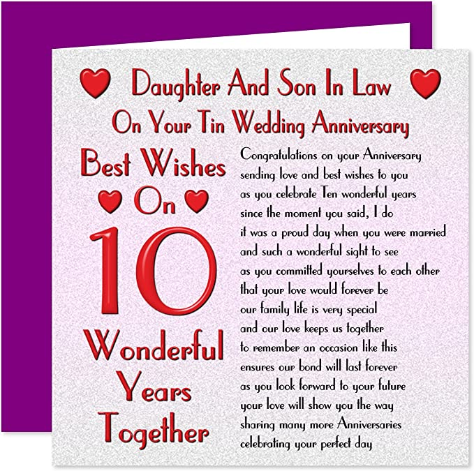 Daughter Son In Law 10th Wedding Anniversary Card On Your Tin Anniversary 10 Years Sentimental Verse Amazon Co Uk Office Products