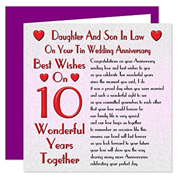 Daughter Son In Law 10th Wedding Anniversary Card