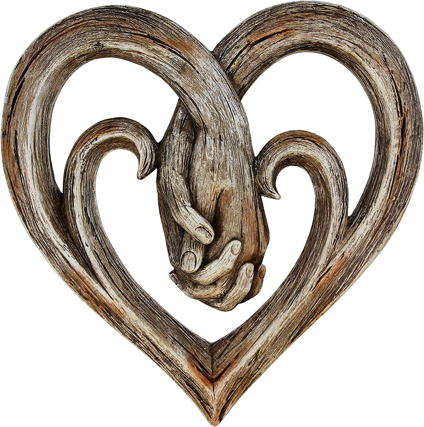 Heart Holding Hands Wall Decor Decorative Art Sculpture - Faux Wood Finish - Forever Love